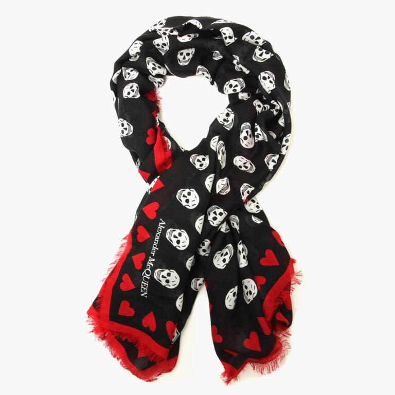 alexander mcqueen Heart biker skull scarf