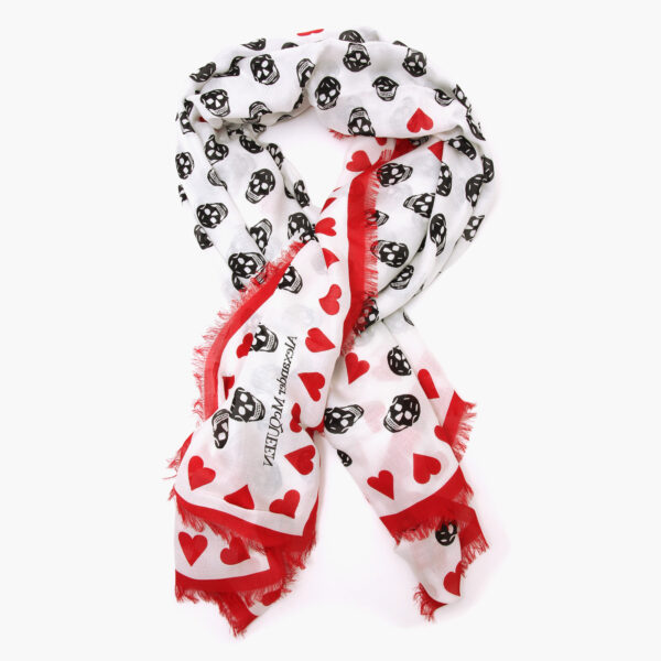 alexander mcqueen Heart biker skull scarf white