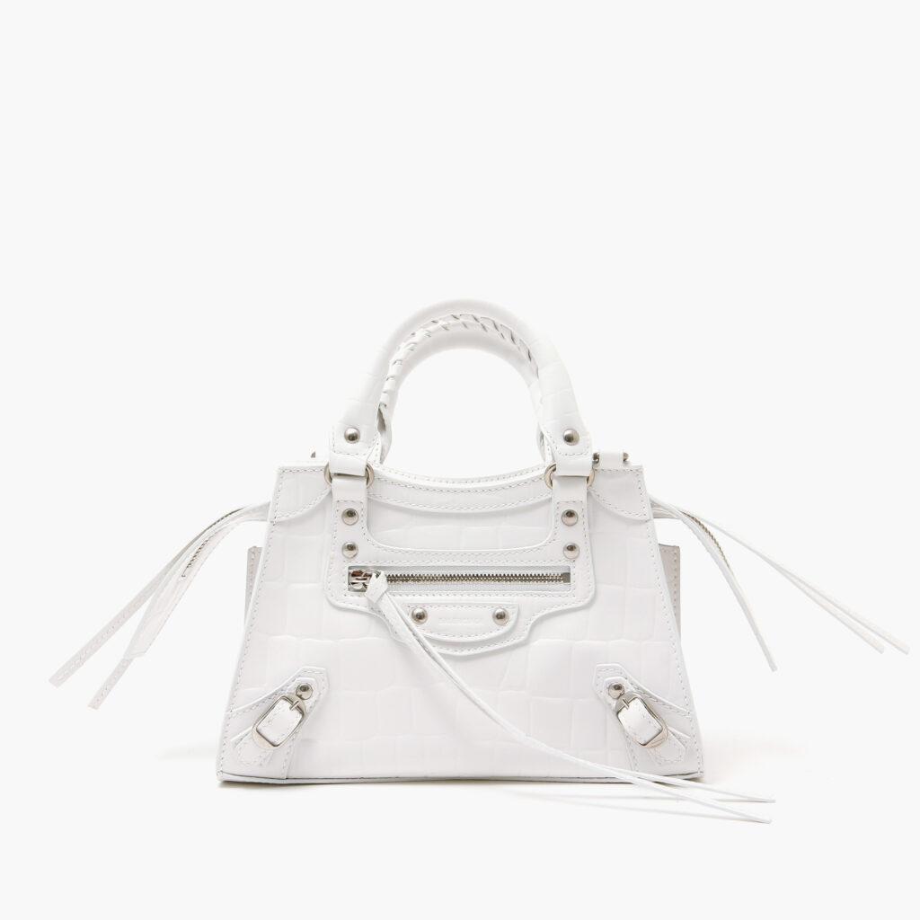 Balenciaga-Neo classic mini top handle bag white croc