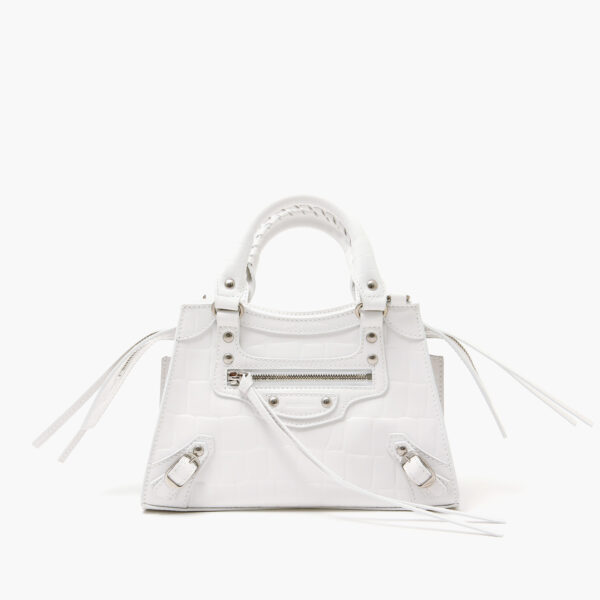 Balenciaga-Neo classic mini top handle bag white croc