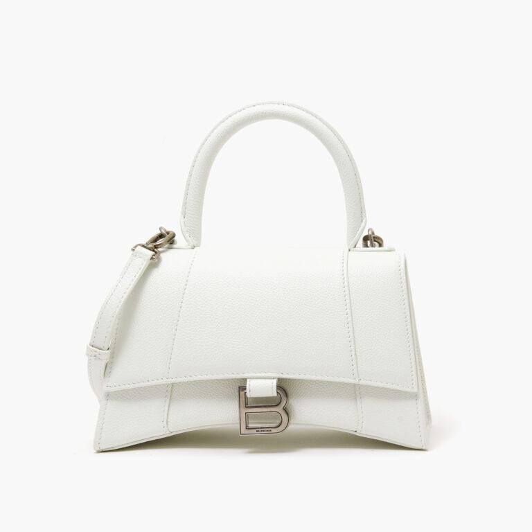 Balenciaga Hourglass Small Top Handle Bag White