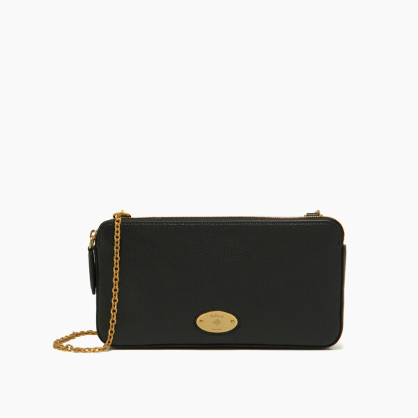 mulberry plaque wallet on chain black