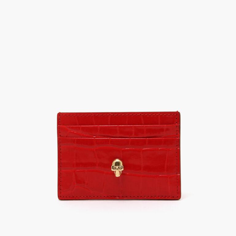 Alexander McQueen Skull Card Holder Red