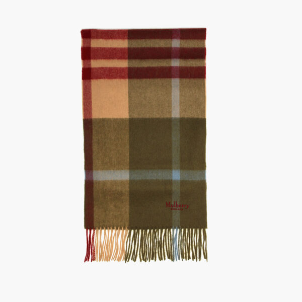 small check scarf moss