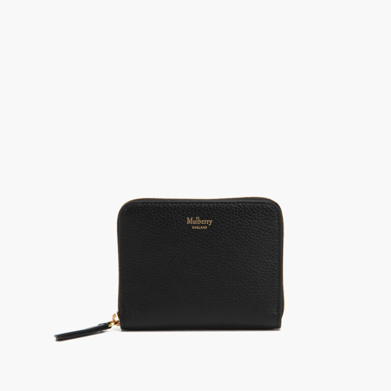 small zip around purse black