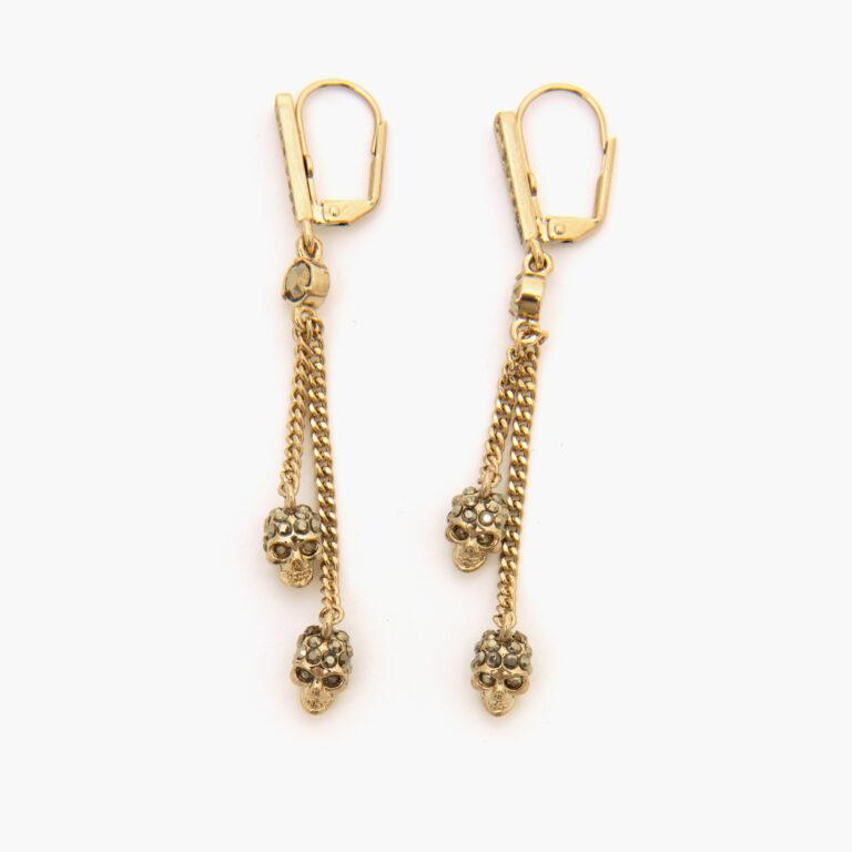 Alexander McQueen Chain Skull Earrings Pale Gold